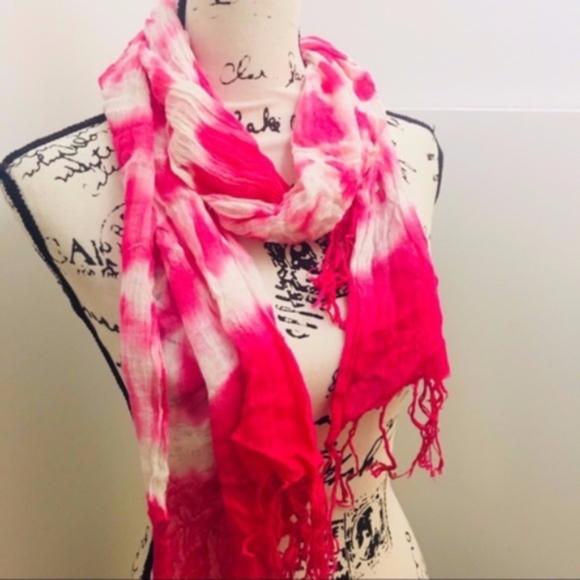 Accessories - Pink & White Tie Dye Knit Scarf